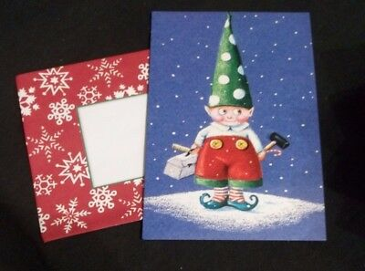 Mary Engelbreit blank Christmas Card w/envelope Elf with tools