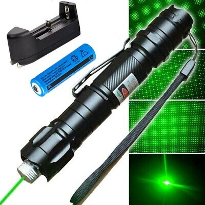 Green Laser Pointer 50Mile 532nm Star Pattern Visible Beam Light+Battery+Charger