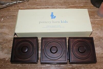 NEW Pottery Barn Kids Circle Square Quilt Clips Espresso Set Of 3