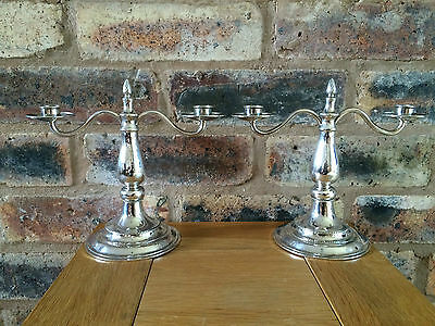 Solid Silver Pair London Guild of Handicraft Arts & Crafts Two Branch Candelabra