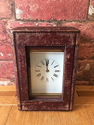 Antique French 1910 Brass & Glass Bevelled Travelling Carriage Mantle Clock