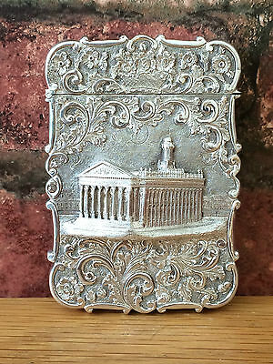 Rare Antique Silver 1844 Nathaniel Mills London Royal Exchange Card Case