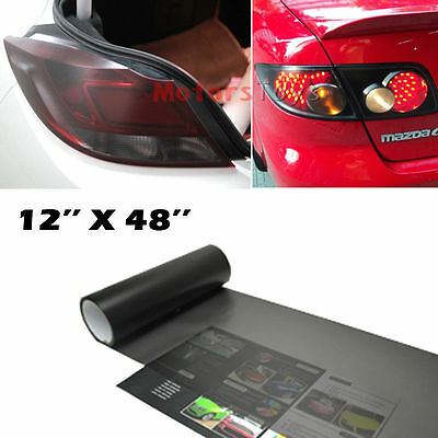 """1p of 12x48"""" Black-Out Smoked Dark Tail Lights Vinyl Wrapping Sheet Film Sticker"""