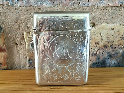 Antique Silver 1904 Edwardian Vesta Case by Edward Smith & William Bartlam