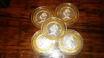 Lot of 5-$10 Fitzgeralds- Mr. O'Lucky 999 Fine Silver Gaming Token