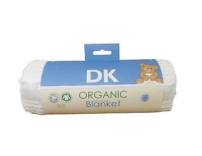 DK GOTS Certified 100% Organic Cotton Cellular Pram/Crib Blanket - Satin Trim