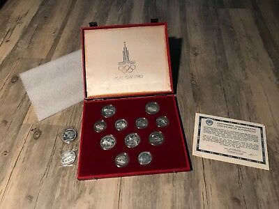 1980 Moscow USSR Russia 5 / 10 Roubles 900 Silver 13 Proof Coin Set 10.7+ oz