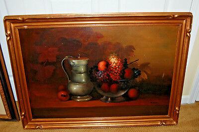 Original Painting Oil Canvas Framed Fine Art Signed Manuel Munoz Ruiz Still Life