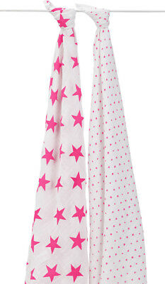 Aden + Anais Muslin Swaddling Wraps 2er Pack Fluro-Pink Tagesdecke