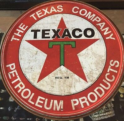 Texaco Petroleum Products Metal Sign Poster High Quality USA Made Round 11.75