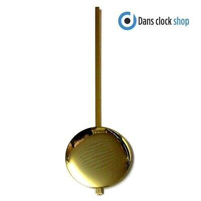 New Traditional Clock Pendulum Rod & Bob - 250mm Imitation Gold Rod & 75mm Bob