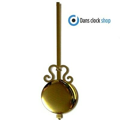 New Traditional Clock Pendulum Rod & Bob - 200mm Imitation Gold Rod & 55mm Bob
