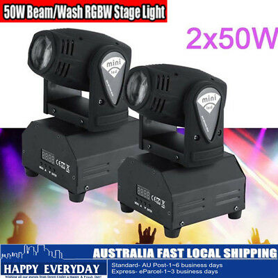 2Pack 50W DMX 11/13CH RGBW LED Moving Head Stage Light DJ Auto Sound activated