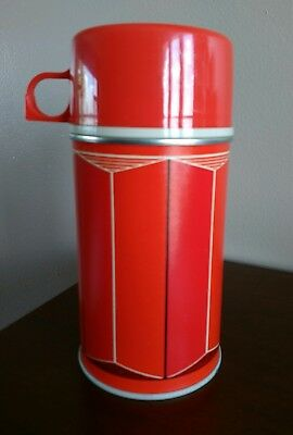 Excellent Condition Vintage 1974 Thermos Red Plaid & Cup~ King Seeley Half Pint