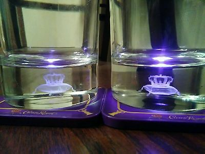 Set of 2 3D Crown Royal Laser cut glasses with matching light up coasters New!!