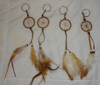 Lot of 4 Native American Tradition Indian Dream Catcher Keychains Feathers Beads