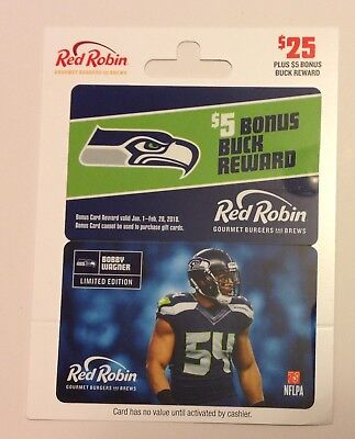 RED ROBIN SEATTLE SEAHAWKS BOBBY WAGNER #54 GIFT CARD No Value