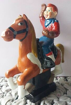 Vintage Howdy Doody Riding A Horse Pottery Bank Hand Painted Folk Art