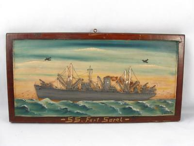Wwii Era Hmcs Sorel Warship Folk Art Wood Carved & Painted Wall Plaque Signed