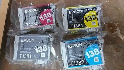 Brand New Genuine Epson 138 Ink Cartridges For Workforce Wf-3520 Wf-3530 Wf-3540