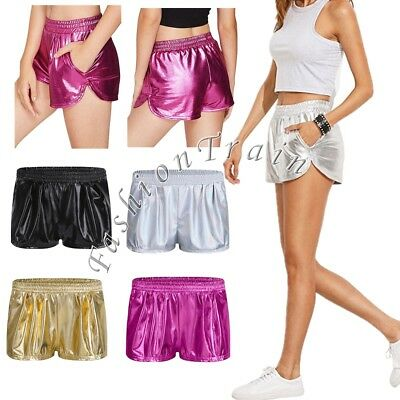 Sexy Women's Shiny Yoga Boxer Hot Shorts Pants Metallic Underwear Clubwear S-XL