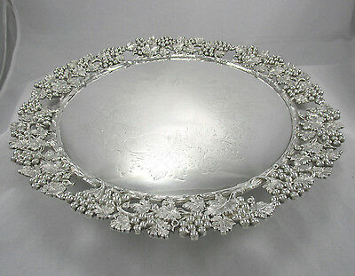 """Ant Victorian Continental Silver Plate 14"""" Footed Salver Serving Tray Hallmarked"""