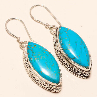 """Blue Copper Turquoise Vintage Style Gemstone 925 Silver Jewelry Earring 1.87"""""""