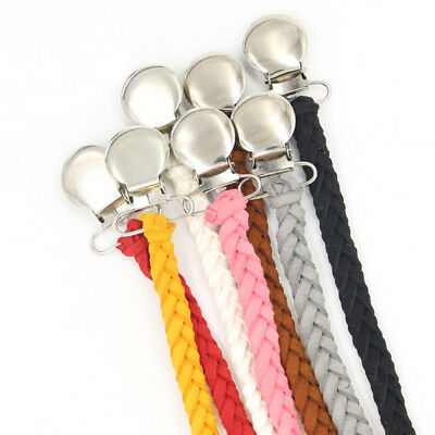 Handmade Braided Baby Pacifier Holder Clips Knit Suede Leather Pacifiers Chain