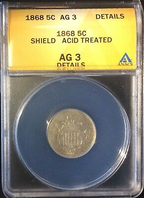 1868 5C Shield Nickel Five Cents Certified AG 3