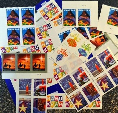 (50) USPS Forever Stamps - Various Designs - Holiday Christmas Postage Stamps