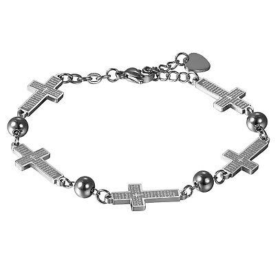 Womens Girls Stainless Steel LORD'S PRAYER Cross Charms Bracelet Link Chain Gift