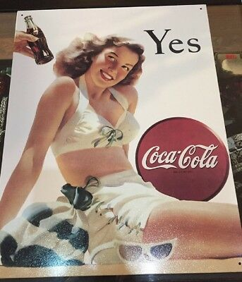 Coca Cola Yes Metal Sign Beach Girl Vintage Style Wall USA Made Size 12.5 x 16