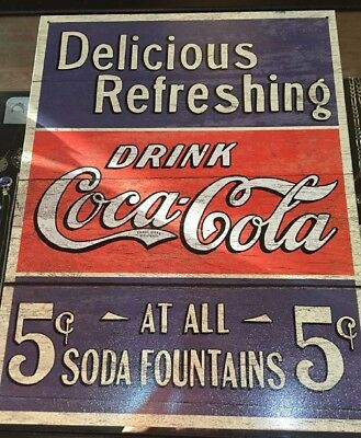 Metal Sign Coca Cola Drink Soda Fountains Quality Wall Poster USA Made 12.5 x 16