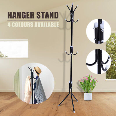 12 Hook Coat Hanger Stand 3-Tier Clothes Metal Rack Tree Style Storage Black AU