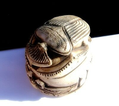 Vintage Egyptian Wing Scarab Beetle Hand Crafted Statue Antique Ivory Bone Color