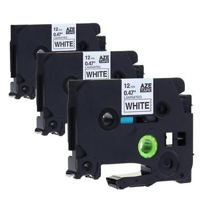 TZ-231 TZe-231 Label Tape Compatible for Brother P-touch Black on White 12mm 3pk