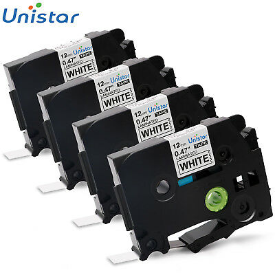 4pk TZ-231 TZe-231 Label Tape Compatible for Brother P-touch Black on White 12mm