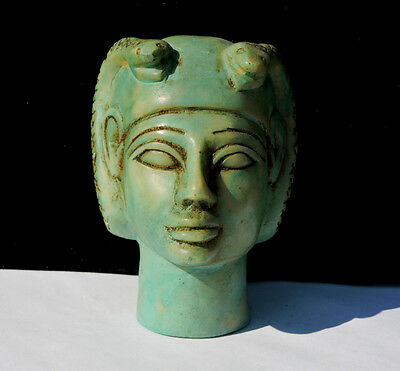 Blue Green Faience Vintage Amun Egyptian Revival Creation God Statue Antique