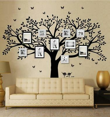 Family Tree Wall Decal Butterflies and Birds Vinyl Art Photo Frame Stickers...