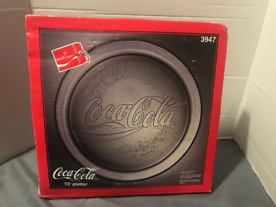 "Coca Cola 13"" Glass Embossed Serving Platter Plate in Box"