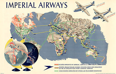 Imperial Airways Map of The World 1937 Vintage A1 High Quality Canvas Print