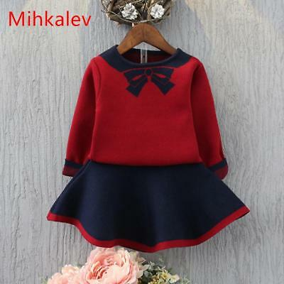 Mihkalev girls clothing sets autumn 2017 sweater tops + skirts 2PCS kids clothes