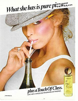 Feberge A Touch of Class Fragrance Perfume Spray Cologne Vintage Ad 1982
