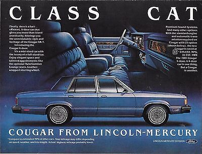 1981 Lincoln Mercury Cougar 4 Door Sedan Vintage Magazine Advertisement