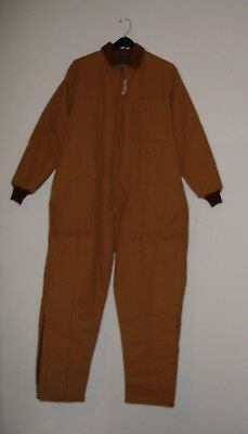 Highland Mills Quilt Lined Brown Insulated  Coveralls Sz Large Mens 38-40 Reg