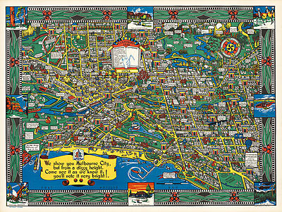 Wonder Map of Melbourne 1934 Vintage A1+ High Quality Canvas Print
