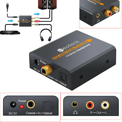 3.5mm Digital Optical Coaxial Toslink to Analog RCA R/L Audio Converter for HDTV