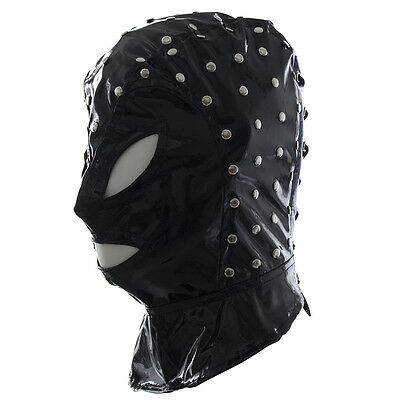 Men's Spandex With Latex studded Full Hood Eyes Mouth Open Mask