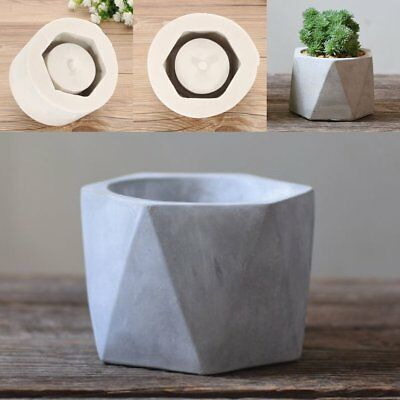 Handmade Silicone Flower Pot Mould Geometric Concrete Cement Planter Vase Crafts