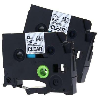 2pk TZ-131 TZe-131 Label Tape Compatible for Brother P-touch 12mm Black on Clear